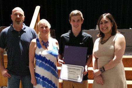 Pictured from Left to Right: David Sharp (step-father); Jennifer Sharp (mother); Welding Scholarship Winner, Brandon Jones and Ashley Kessler, High School Representative
