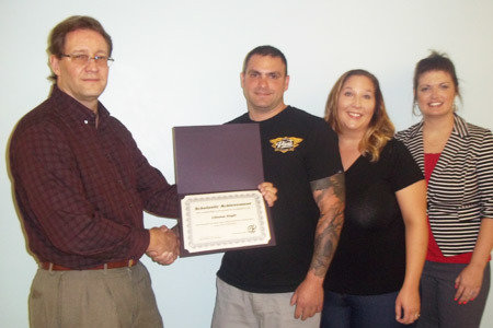 Pictured from Left to Right: Dave Shipe, School Director/Sunbury School; Clinton Engle, Maintenance Electricity Scholarship Winner; Lise Engle (wife), Angela Mann, Admissions Representative/Sunbury School