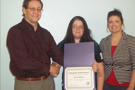 Pictured from Left to Right: Dave Shipe, School Director/Sunbury School; Jacinda Walborn, Welding Scholarship Winner; Angela Mann, Admissions Representative/Sunbury School