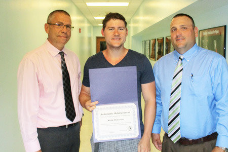Pictured from Left to Right: Joe Brady, Assistant Director/Bethlehem School; Carpentry and Construction Scholarship Winner, Keith Pinkerton; Mike Biechy, School Director/Bethlehem School.