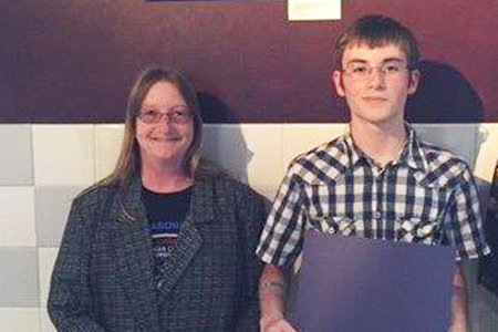Pictured from Left to Right: Sue Hassett (mother) and CADD Scholarship Winner Luke Hassett