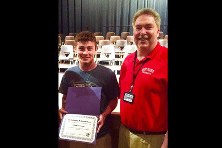 Pictured from Left to Right: Maintenance Electricity Scholarship Winner, Mark Coleman and Jody Rainey, Principal/Homer-Center High School