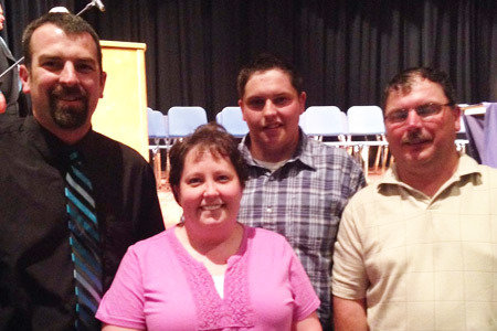 Pictured from Left to Right: Brad Geer, High School Representative; Bobbie Jo Carns (mother); Maintenance Electricity Scholarship Winner, Zane Carns; Edward Carns (father)